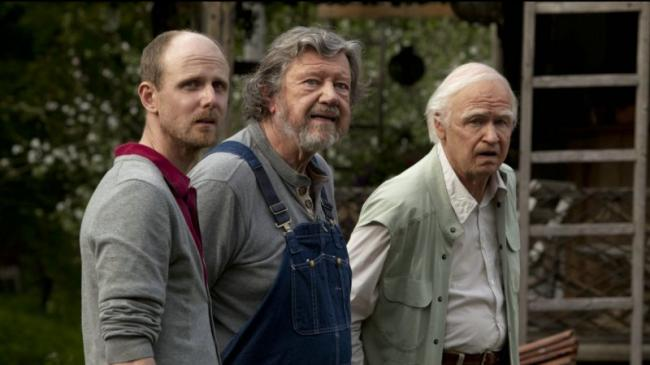 David Wiberg, Irwin Wiklander and Robert Gustafsson in The 100-Year-Old Man Who Climbed Out the Window and Disappeared.