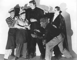 A popular publicity still for Abbott and Costello Meet Frankenstein.