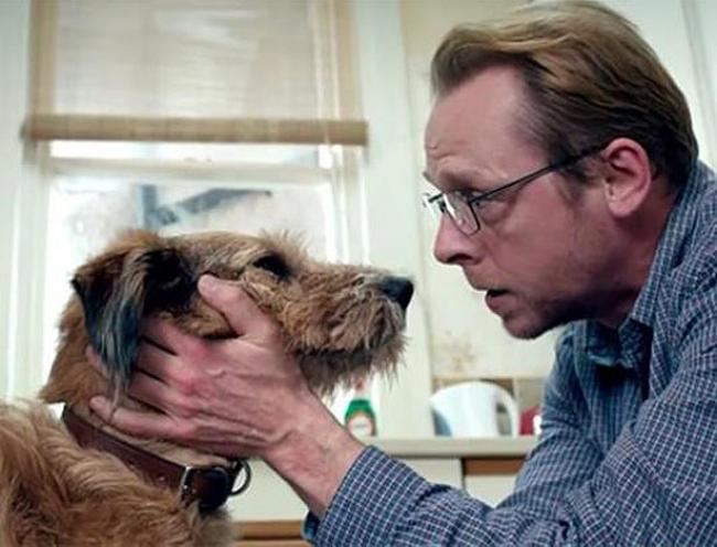 Dennis the Dog and Simon Pegg in Absolutely Anything.