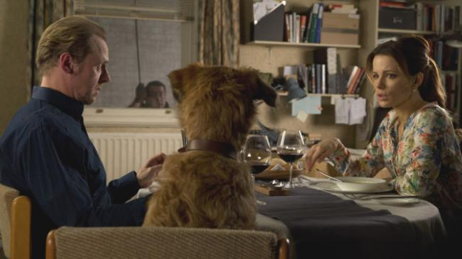 Simon Pegg, Dennis the Dog, and Kate Beckinsale in Absolutely Anything.