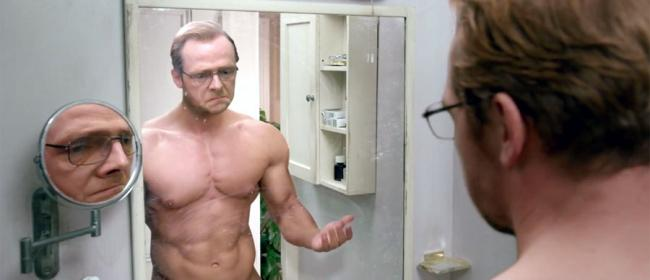 Simon Pegg wishing this was his real body in Absolutely Anything