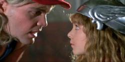 Vincent D'Onofrio and Maia Brewton in Adventures in Babysitting.