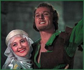 Olivia de Havilland and Errol Flynn in The Adventures of Robin Hood.