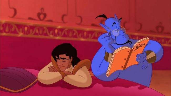 Aladdin and Genie try to figure out how to steal Jasmine's heart.