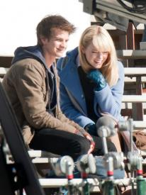 Andrew Garfield and Emma Stone yucking it up on the set of The Amazing Spider-man