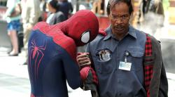 Andrew Garfield and Jamie Foxx in The Amazing Spider-man 2.