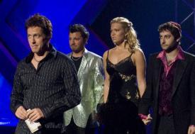 Hugh Grant and Mandy Moore in American Dreamz.