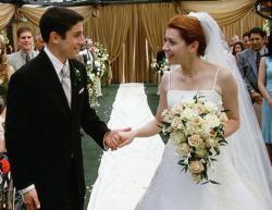 Jason Biggs and Alyson Hannigan in American Wedding.