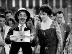 Groucho Marx and Margaret Dumont in Animal Crackers.