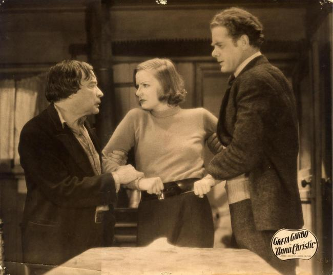 George F. Marion, Greta Garbo, and Charles Bickford in Anna Christie.