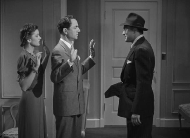 Myrna Loy, William Powell, and Sheldon Leonard in Another Thin Man.