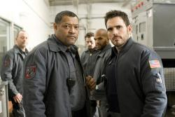 Laurence Fishburne and Matt Dillon in Armored.