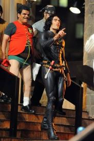 Russell Brand and Luis Guzman as Arthur and Bitterman dressed up as Batman and Robin in Arthur.
