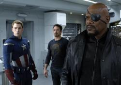 Chris Evans, Robert Downey Jr. and Samuel L. Jackson in The Avengers.