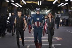 Jeremy Renner as Hawkeye, Chris Evans as Captain America and Scarlett Johansson as Black Widow in The Avengers