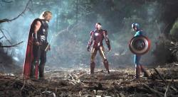 Thor, Iron Man and Captain America in The Avengers.