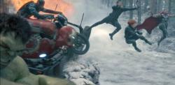 The team goes into action in Avengers: Age of Ultron.
