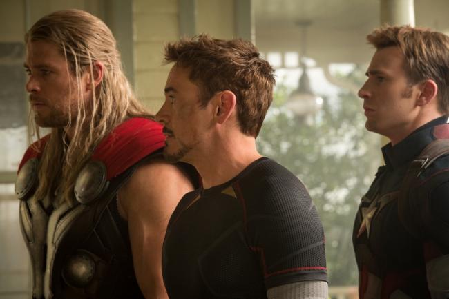 Chris Hemsworth, Robert Downey Jr., and Chris Evans in Avengers: Age of Ultron.