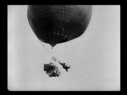 Buster Keaton performs a daredevil stunt in The Balloonatic.