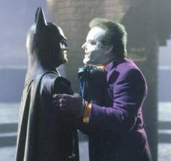 Batman gets revenge on Joker for stealing the movie.