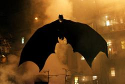 Christian Bale as Batman in Batman Begins.