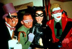 Burgess Meredith, Frank Gorshin, Lee Meriwether, and Cesar Romero in Batman: The Movie.