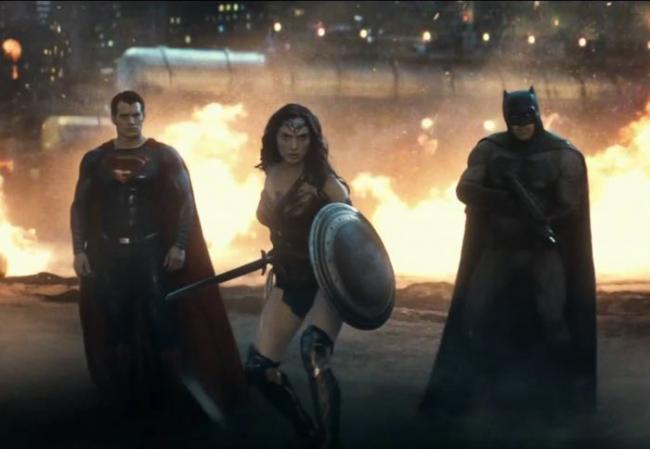 Henry Cavill, Gal Gadot, and Ben Affleck in Batman v Superman: Dawn of Justice.