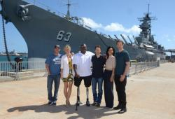 Peter Berg, Brooklyn Decker, Gregory D. Gadson, Taylor Kitsch, Brooklyn Decker and Alexander Skarsgard in front of the USS Missoouri.