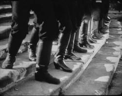 The soldiers march down the Odessa Staircase in Battleship Potemkin.