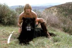 Marc Singer and Sultan the Tiger in The Beastmaster.