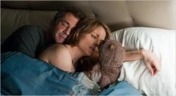 Mel Gibson, Jodie Foster and the beaver in The Beaver.