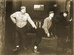 Roscoe (Fatty) Arbuckle, Buster Keaton and Alice Lake in The Bell Boy.