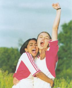 Keira Knightley and Parminder K. Nagra in Bend It Like Beckham.