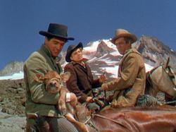 Rock Hudson, Arthur Kennedy and James Stewart in Bend of the River.