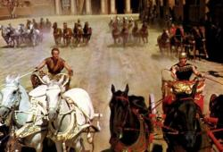 Charlton Heston and  Stephen Boyd in the famous chariot race scene in Ben-Hur.