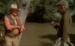 John Wayne and Christopher Mitchum in Big Jake.