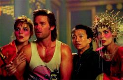 Kim Cattrall, Kurt Russell, Dennis Dun, and Suzee Pai in Big Trouble in Little China.