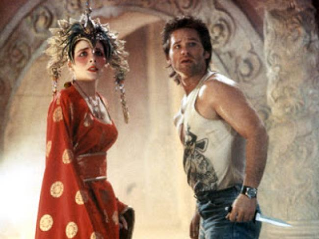 Kim Cattrall and Kurt Russell in Big Trouble in Little China.