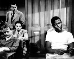 Vic Morrow, Glenn Ford and Sidney Poitier in Blackboard Jungle.