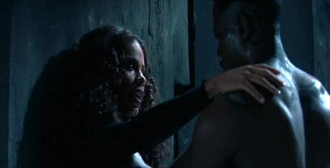 Sanaa Lathan and Wesley Snipes in Blade.