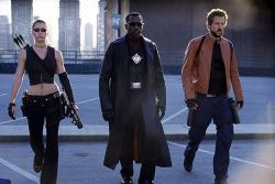 Jessica Biel, Wesley Snipes and Ryan Reynolds in Blade: Trinity.