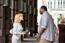 Sandra Bullock and Quinton Aaron have a dramatic moment.