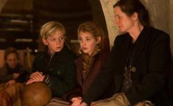Nico Liersch, Sophie Nelisse, and Emily Watson in The Book Thief.