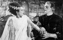 Elsa Lanchester and Boris Karloff in The Bride of Frankenstein.
