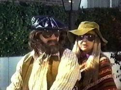 Ernest Borgnine and Bette Davis don hippie disguises to rob banks in Bunny O'Hare.