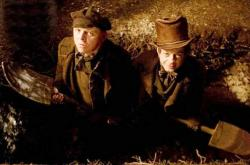 Simon Pegg and Andy Serkis in Burke & Hare.