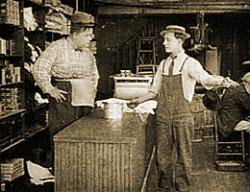 Roscoe Arbuckle and Buster Keaton in The Butcher Boy.