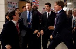Zach Galifianakis, Jason Sudeikis, Dylan McDermott and Will Ferrell in The Campaign