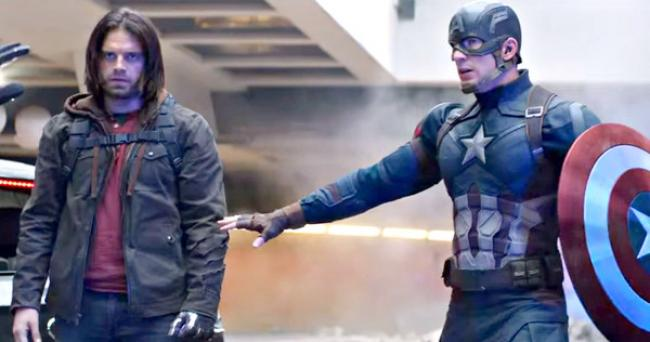 Sebastian Stan and Chris Evans in Captain America: Civil War.