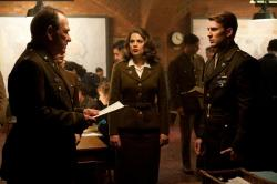 Tommy Lee Jones, Hayley Atwell and Chris Evans in Captain America: The First Avenger.